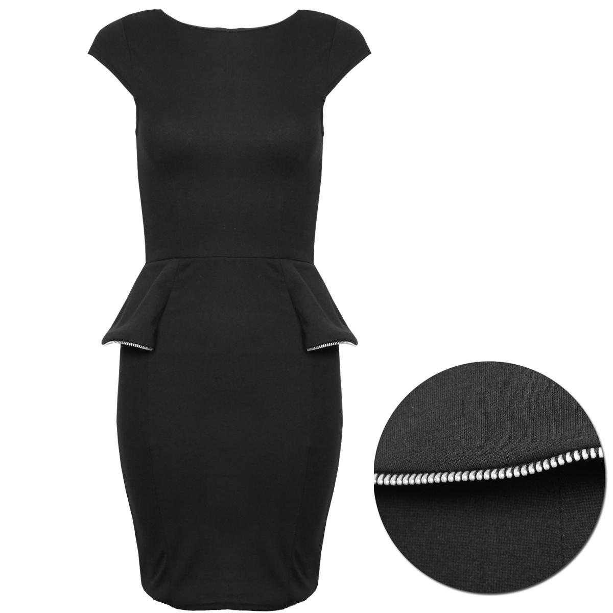 Black Zip Detail Peplum Dress Preview